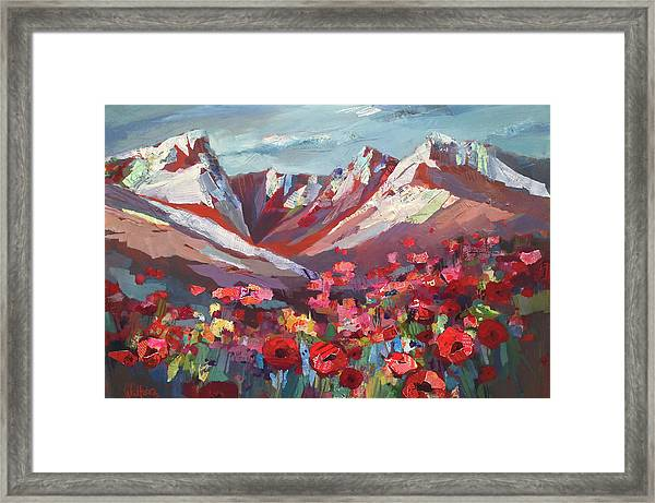 Framed Print featuring the painting Broken Top Wildflowers by Shelli Walters