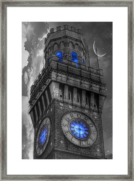 Bromo Seltzer Tower Baltimore - Blue  Framed Print