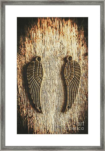 Bronze Angel Wings Framed Print