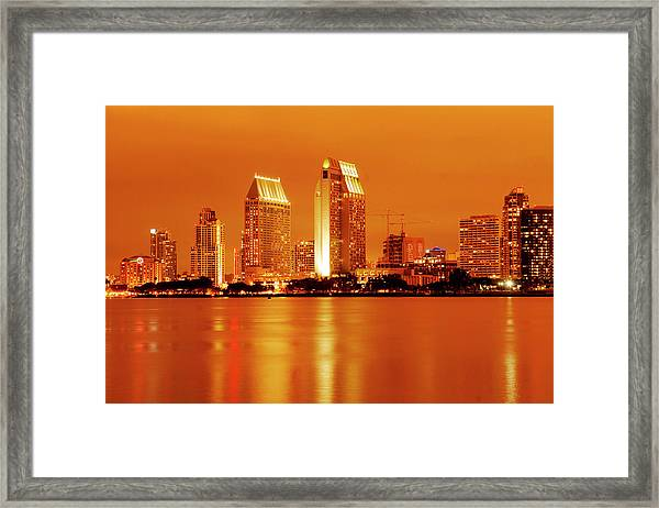 Bronze San Diego Skyline Framed Print