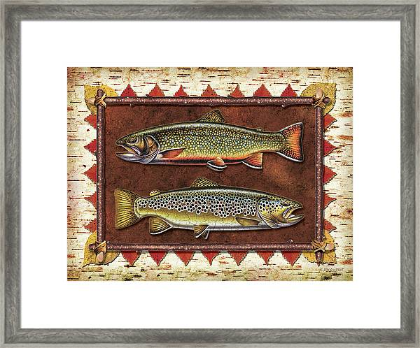 Brook And Brown Trout Lodge Framed Print