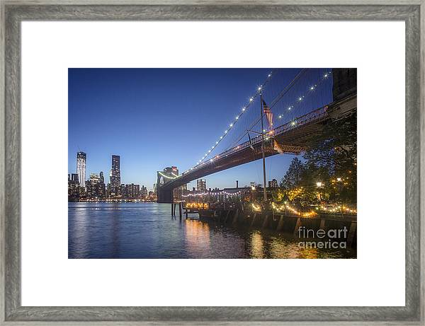 Framed Print featuring the photograph Brooklyn Brdige New York  by Juergen Held