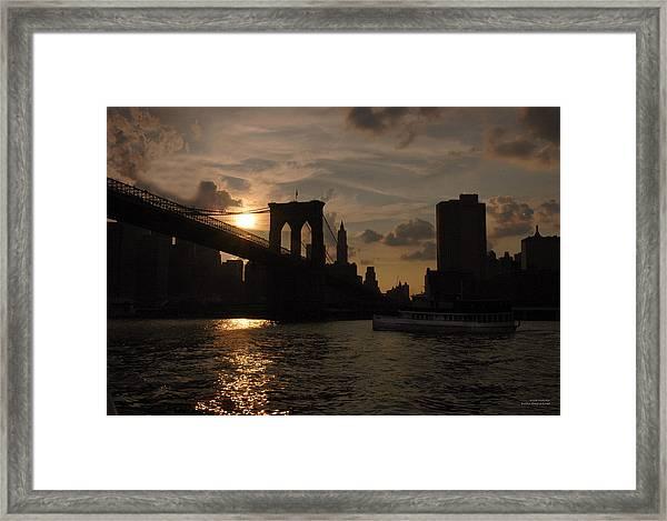 Brooklyn Bridge - Sunset Framed Print
