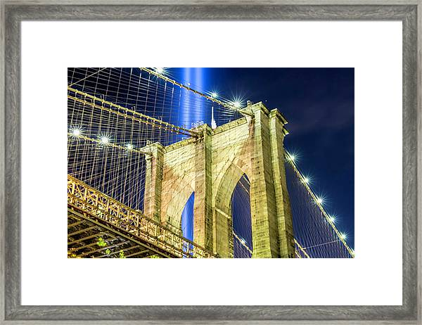 Brooklyn Bridge And The Tribute In Light Framed Print by Zev Steinhardt