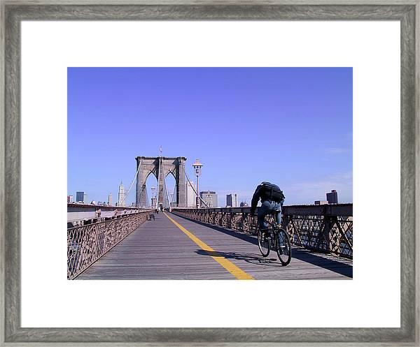Brooklyn Bridge Bicyclist Framed Print