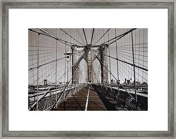 Brooklyn Bridge By Art Farrar Photographs, Ny 1930 Framed Print