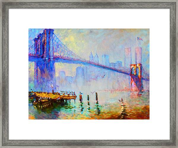 Brooklyn Bridge In A Foggy Morning Framed Print