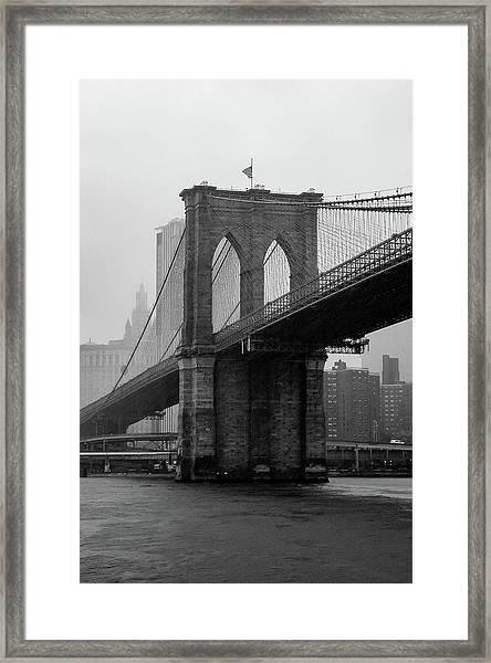 Brooklyn Bridge In A Storm Framed Print