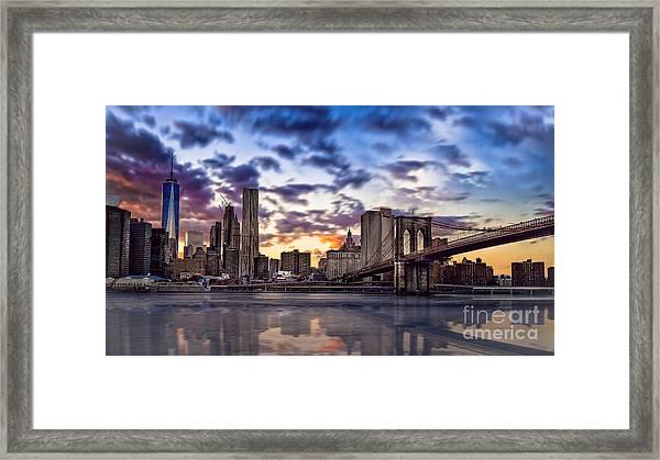 Brooklyn Bridge Manhattan Sunset Framed Print