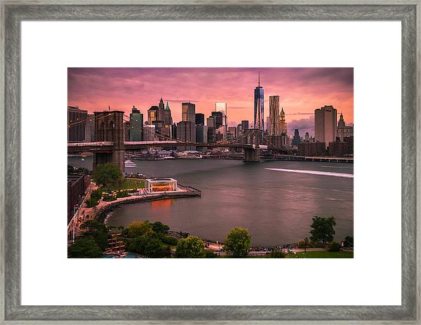 Brooklyn Bridge Over New York Skyline At Sunset Framed Print