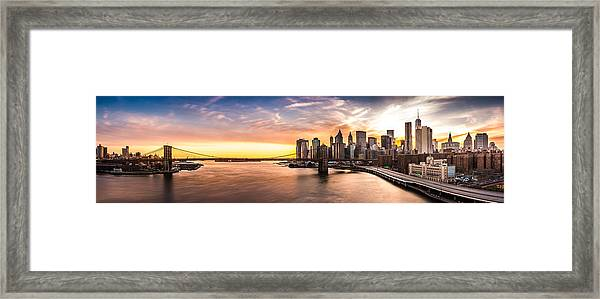 Brooklyn Bridge Panorama Framed Print