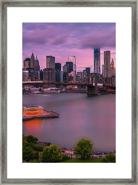 Brooklyn Bridge World Trade Center In New York City Framed Print