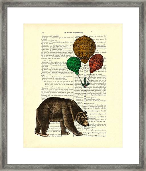 Brown Bear With Balloons Framed Print