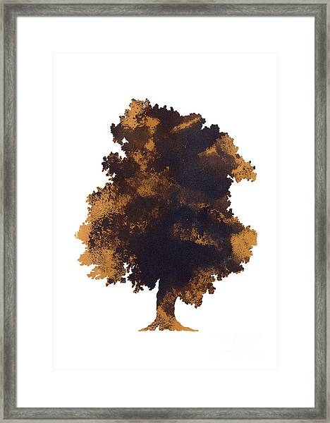 Brown Oak Minimalist Painting Framed Print