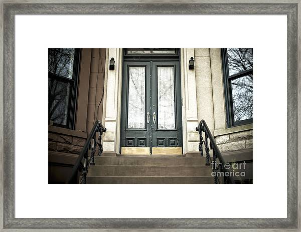 Brownstone Green Door Framed Print by John Rizzuto