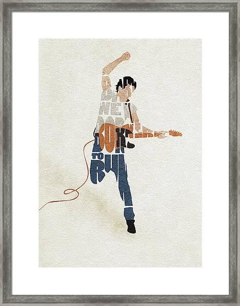 Bruce Springsteen Typography Art Framed Print