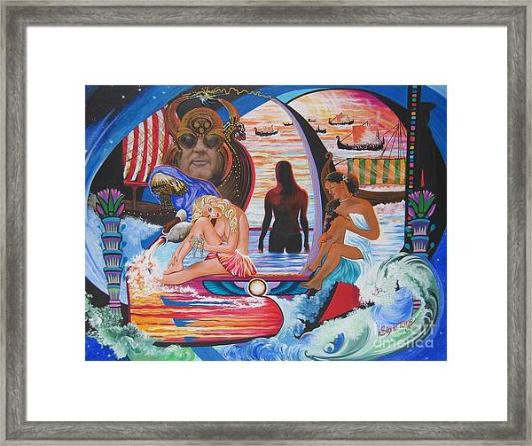 Blaa Kattproduksjoner     Two  Godessess Enjoying  The Nile Spa Framed Print