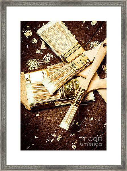 Brushes Of Interior Decoration Framed Print