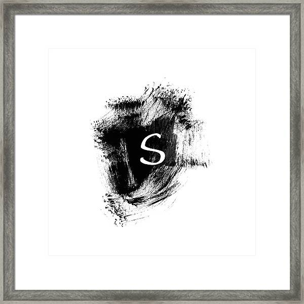 Brushstroke S -monogram Art By Linda Woods Framed Print