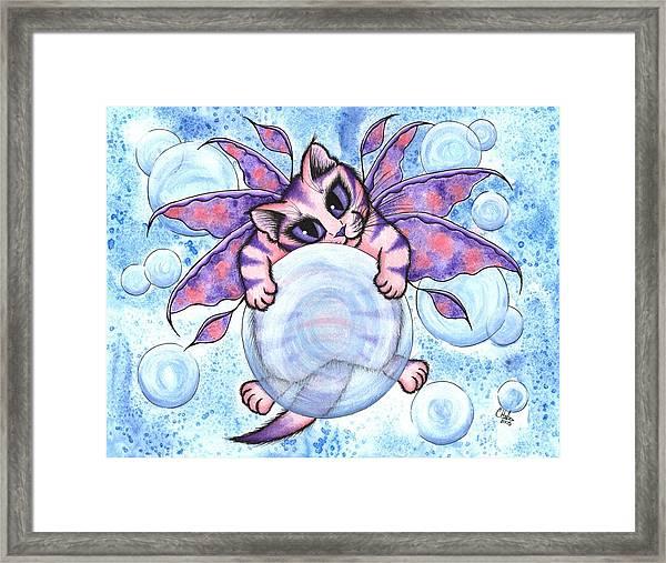 Bubble Fairy Kitten Framed Print