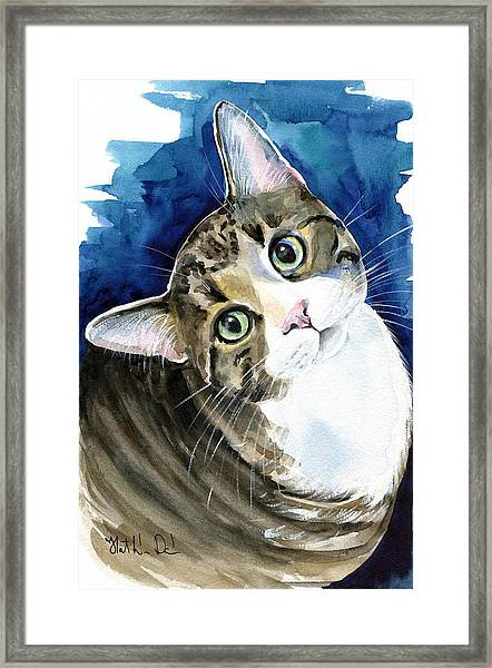 Bubbles - Tabby Cat Painting Framed Print