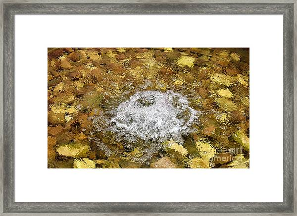 Bubbling Water In Rock Fountain Framed Print