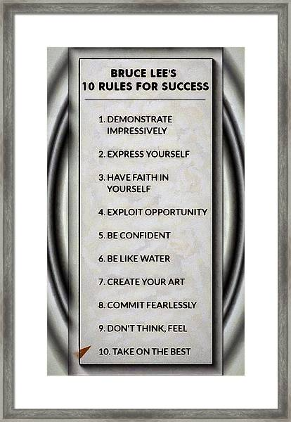 Buce Lee 10 Rules Of Success Framed Print