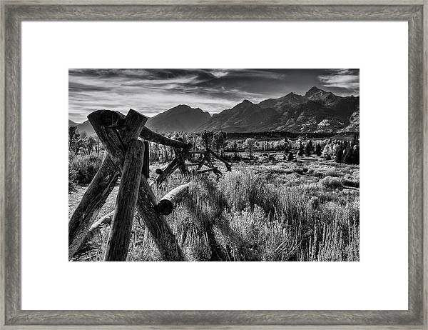 Buck And Rail To The Tetons Framed Print
