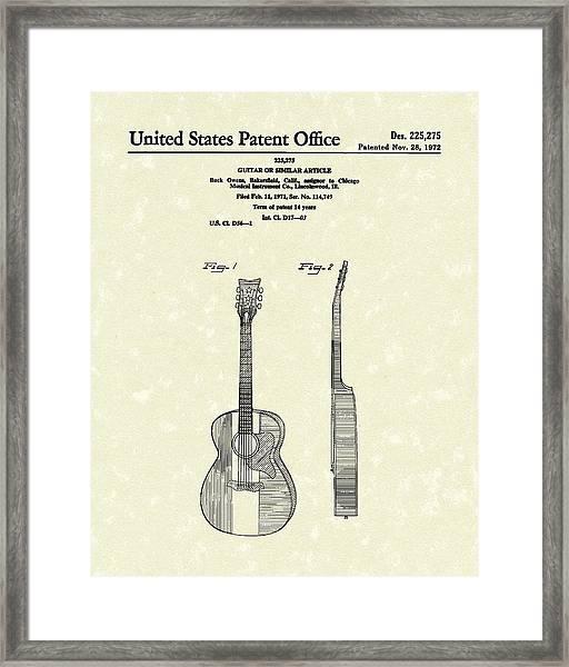 Buck Owens Guitar 1972 Patent Art  Framed Print