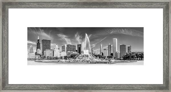 Buckingham Fountain Skyline Panorama Black And White Framed Print