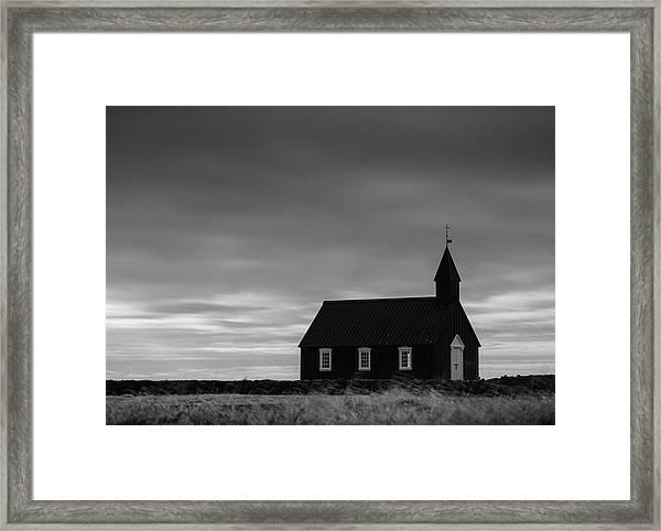 Budakirkja, The Black Church In Iceland Framed Print