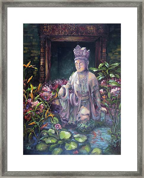 Budda Statue And Pond Framed Print