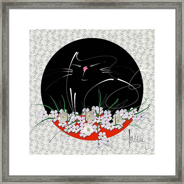 Framed Print featuring the mixed media Buddha Cat by Larry Talley