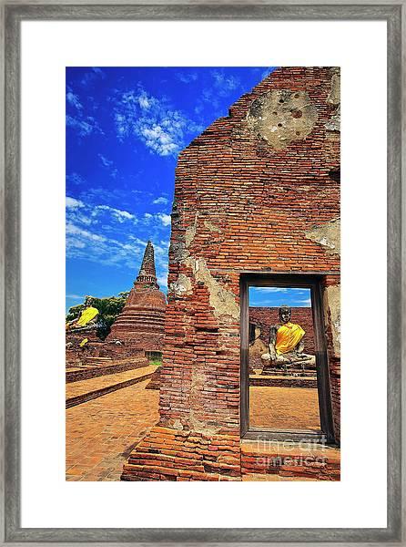 Framed Print featuring the photograph Buddha Doorway At Wat Worachetha Ram In Ayutthaya, Thailand by Sam Antonio Photography