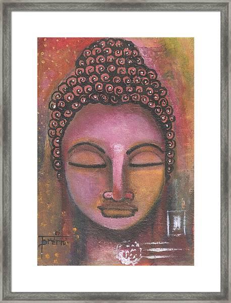 Buddha In Shades Of Purple Framed Print