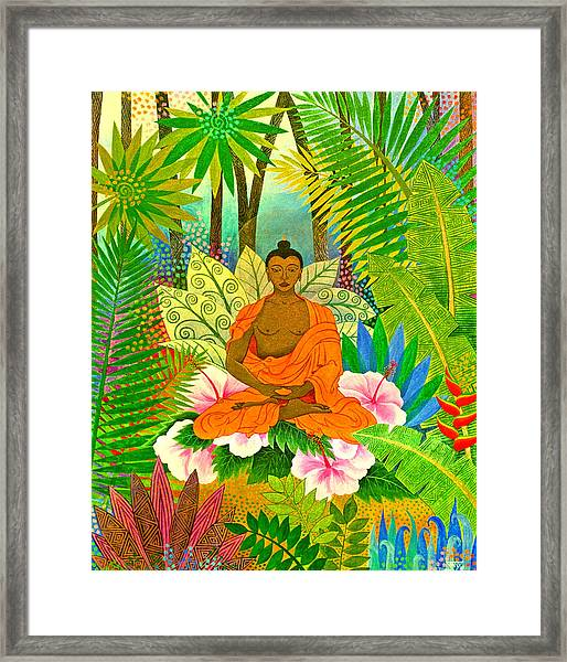 Buddha In The Jungle Framed Print by Jennifer Baird