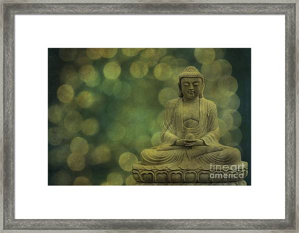Buddha Light Gold Framed Print