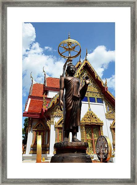 Buddha Statue With Sunshade Outside Temple Hat Yai Thailand Framed Print