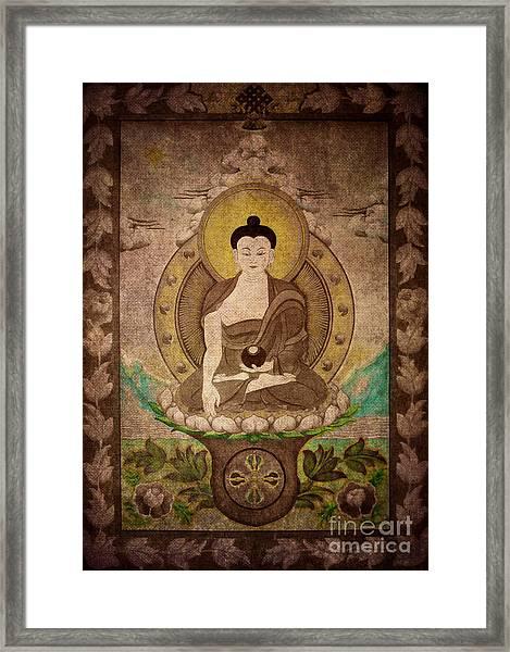 Buddha Thangka Silver Framed Print