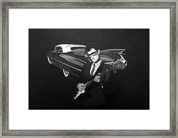 Buddy Holly And 1959 Cadillac Framed Print
