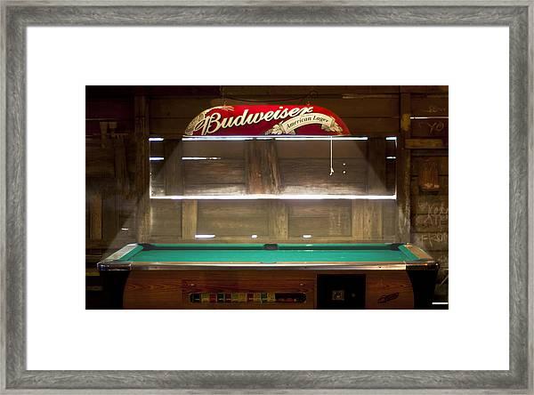Budweiser Light Pool Table Framed Print