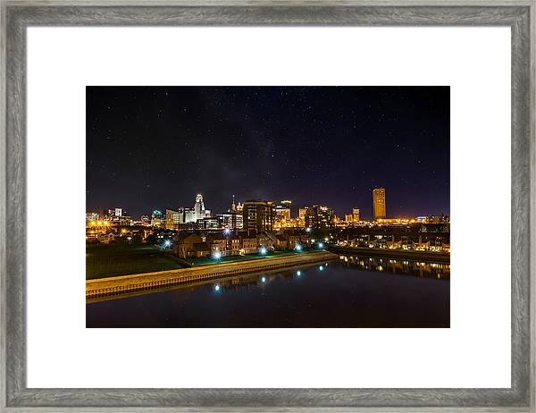 Buffalo Skyline Under The Stars Framed Print
