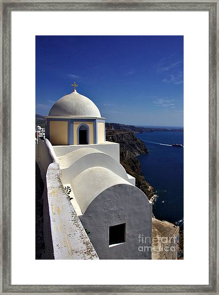 Building In Fira Framed Print
