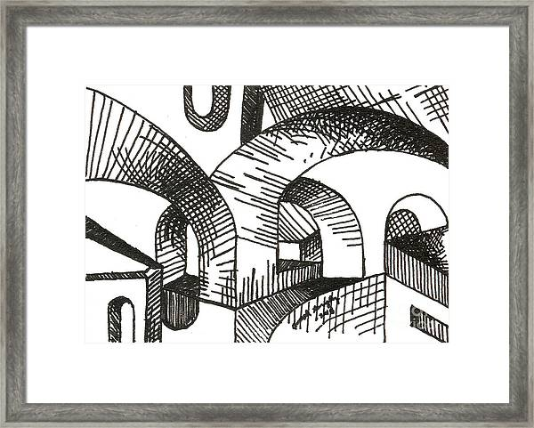 Buildings 1 2015 - Aceo Framed Print