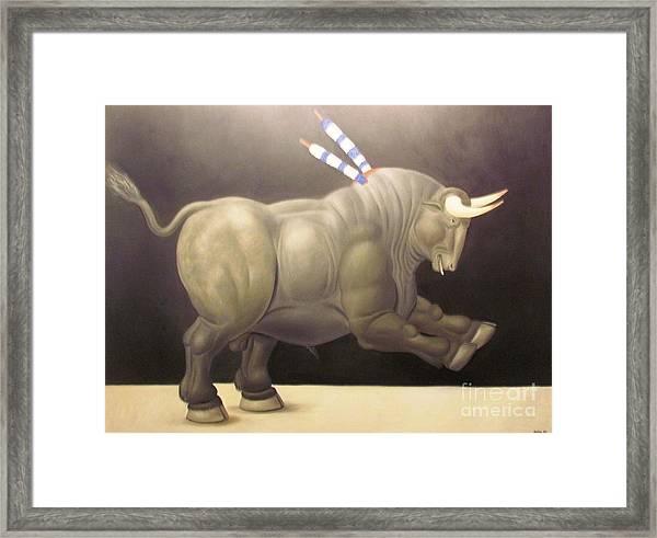 bull painting Botero Framed Print