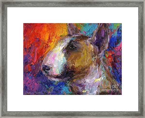 Bull Terrier Dog Painting Framed Print