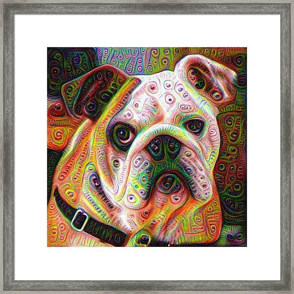 Bulldog Surreal Deep Dream Image Framed Print