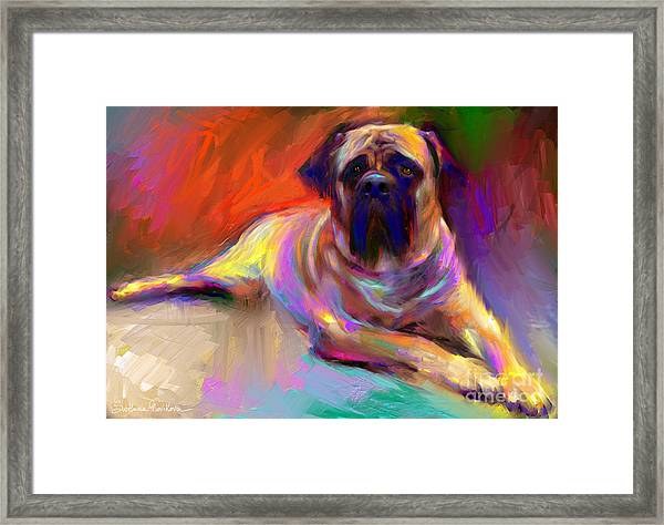 Bullmastiff Dog Painting Framed Print
