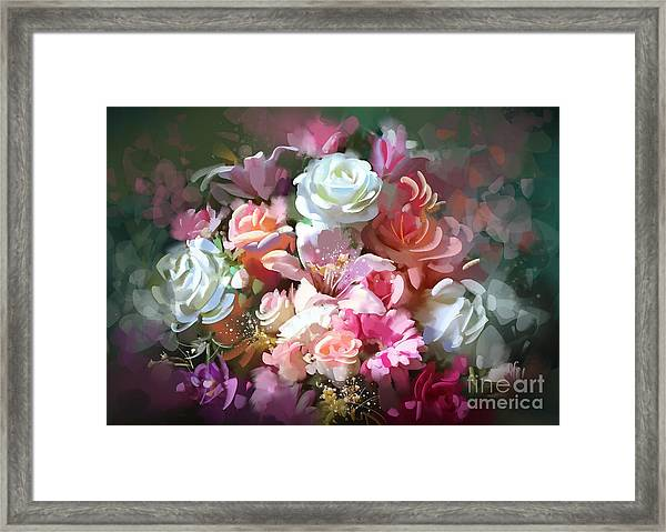 Framed Print featuring the painting Bunch Of Roses by Tithi Luadthong