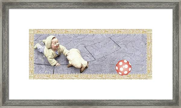 Baby Chases Bunny Framed Print
